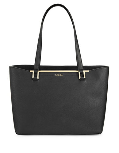 Calvin Klein Cindy Saffiano Leather Tote-BLACK-One Size