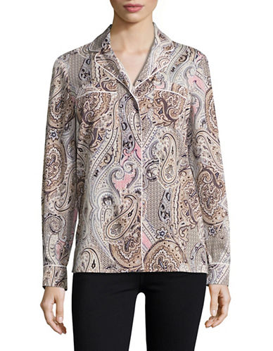 Tommy Hilfiger Button Front Paisley Shirt-BEIGE MULTI-Small