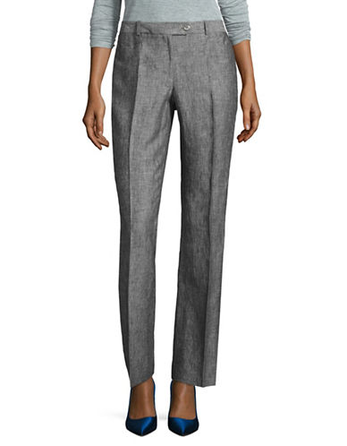 Calvin Klein Heathered Linen Pants-BLACK-4