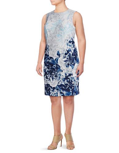 Calvin Klein Plus Floral Printed Scuba Sheath Dress-BLUE MULTI-16W