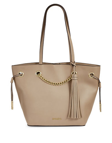 Calvin Klein Montana Tasselled Grommet Tote-NATURAL-One Size