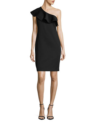Calvin Klein Ruffled One Shoulder Sheath Dress-BLACK-10