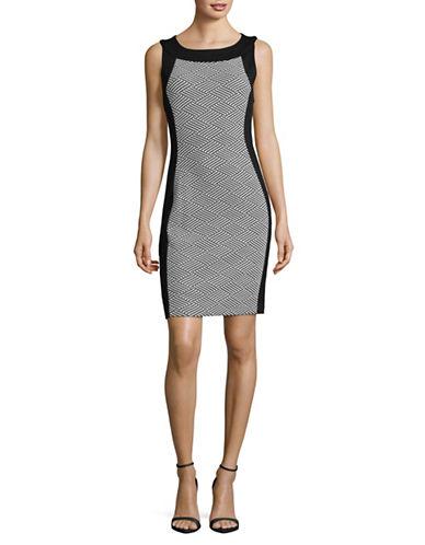 Calvin Klein Sleeveless Contrast Sheath Dress-BLACK COMBO-6