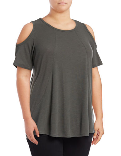 Calvin Klein Performance Plus Cold Shoulder Performance Top-GREY-2X