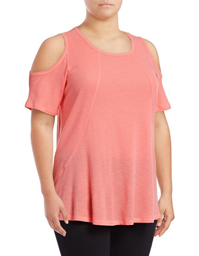 Calvin Klein Performance Plus Cold Shoulder Performance Top-PINK-1X