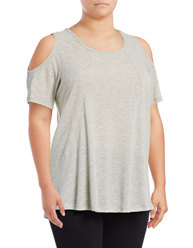 Calvin Klein Performance Plus Cold Shoulder Performance Top-HEATHER GREY-1X