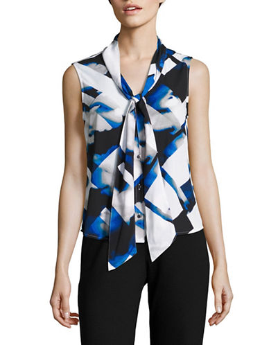 Calvin Klein Printed Sleeveless Tie-Neck Top-REGATTA MULTI-X-Small