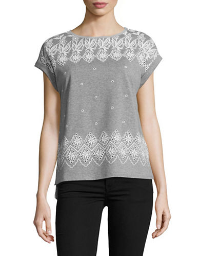 Tommy Hilfiger Burnout Eyelet T-shirt-GREY-X-Small 89177442_GREY_X-Small