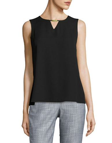 Calvin Klein Pleated Envelope Back Top-BLACK-Medium