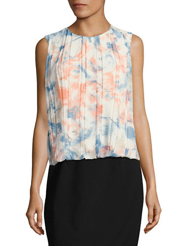 Calvin Klein Floral Pleated Top-WHITE MULTI-X-Large