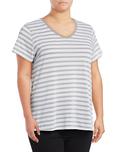 Calvin Klein Performance Plus Striped V-Neck Pleat-Back Tee-STONE-1X 89299863_STONE_1X