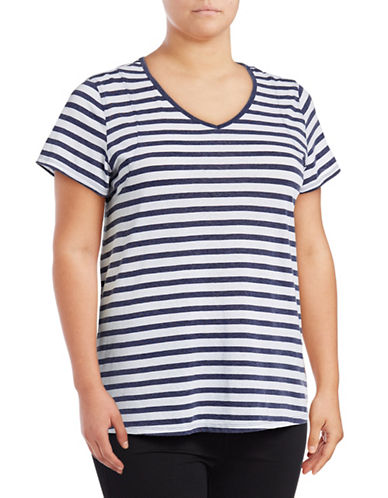 Calvin Klein Performance Plus Striped V-Neck Pleat-Back Tee-BLUE-1X