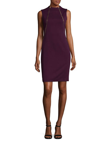 Calvin Klein Mock Neck Sleeveless Zip Front Dress-PURPLE-10
