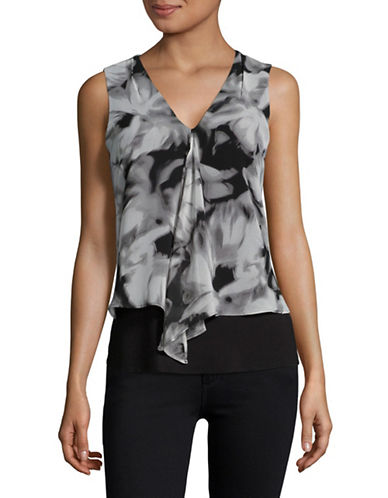 Calvin Klein Chiffon Layered Top-BLACK-X-Large