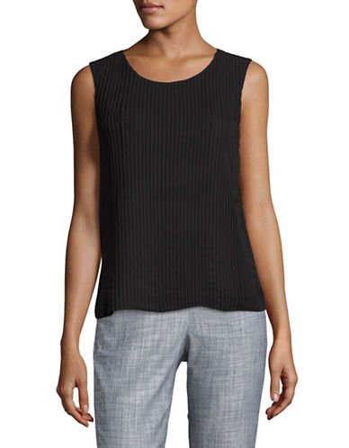Calvin Klein Pleated Shell Top-BLACK-Medium 88945469_BLACK_Medium