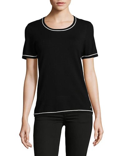Calvin Klein Piped Sweater Tee-BLACK-Large