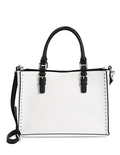 Calvin Klein Studded Unlined Tote Bag-WHITE/BLACK-One Size