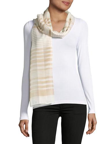 Calvin Klein Shadow Stripe Oblong Scarf-BORWN-One Size