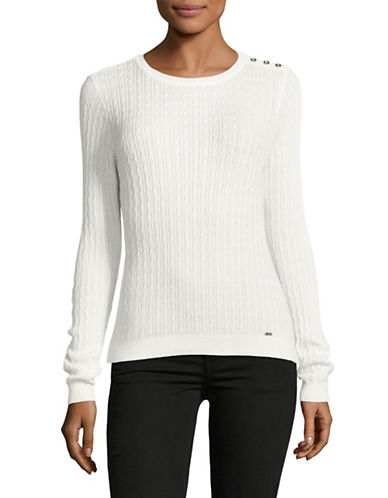 Tommy Hilfiger Cable Knit Sweater-NATURAL-Large