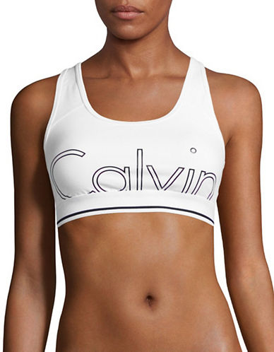 Calvin Klein Performance Stretch-Cotton Logo Sports Bra-WHITE-X-Large 89185019_WHITE_X-Large