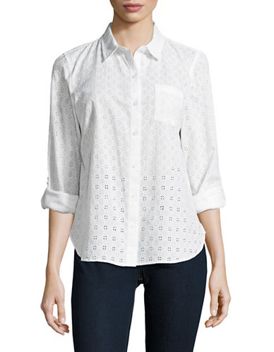 Tommy Hilfiger Eyelet Sport Shirt-WHITE-Medium