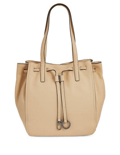 Calvin Klein Drawcord Ring-Tab Pebble Leather Tote-NUDE-One Size