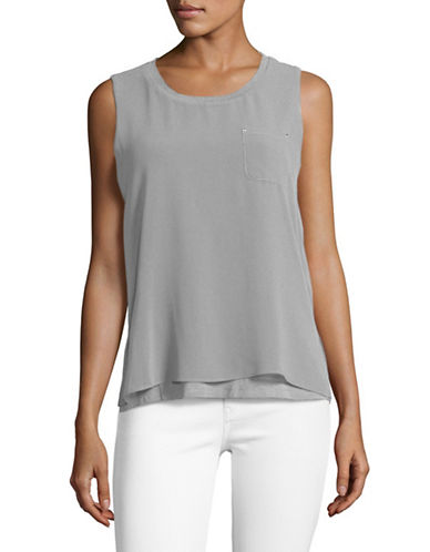 Calvin Klein Sleeveless Chiffon Overlay Top-GREY-Large 89211781_GREY_Large