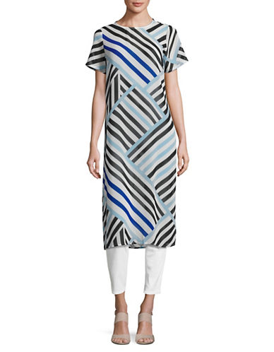 Calvin Klein Graphic Stripe Side-Slit Tunic-WHITE MULTI-Large 89211770_WHITE MULTI_Large