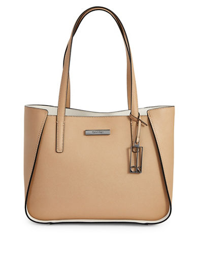 Calvin Klein Marissa Leather Tote Bag-BEIGE-One Size
