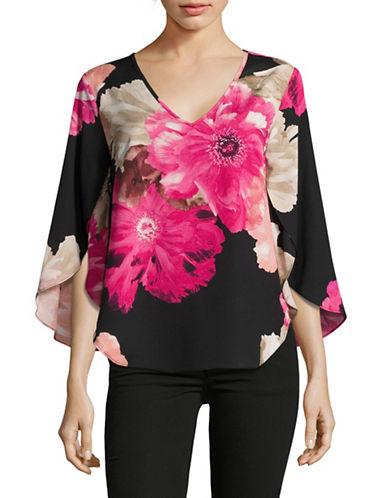 Calvin Klein V-Neck Flutter Sleeve Blouse-MULTI-Small 89150774_MULTI_Small