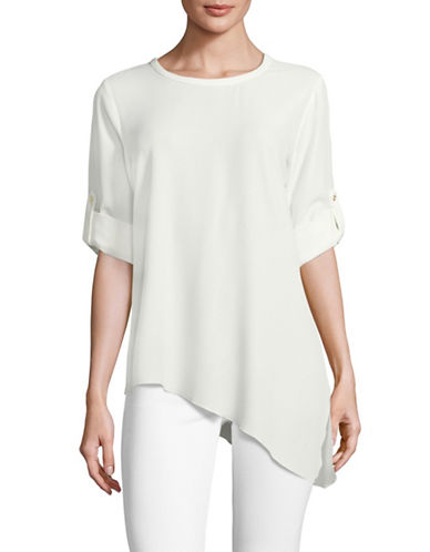 Calvin Klein Asymmetric Roll-Sleeve Top-WHITE-Medium 89150741_WHITE_Medium