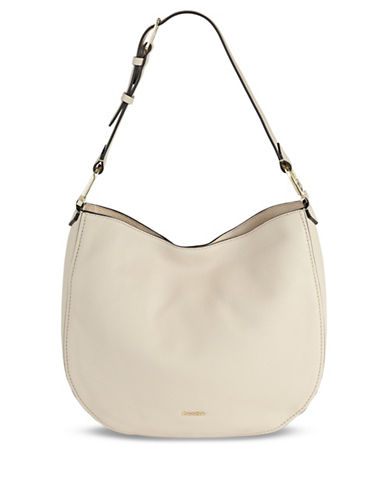 Calvin Klein Erica Pebbled Leather Hobo Bag-BEIGE-One Size