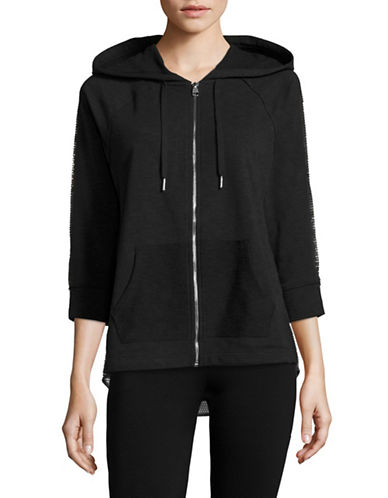 Calvin Klein Performance Cotton Zip-Up Hooded Sweatshirt-BLACK-Large 89184858_BLACK_Large