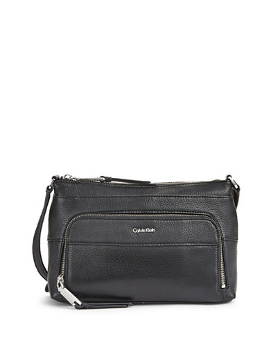 Calvin Klein Pebbled Crossbody Bag-BLACK-One Size