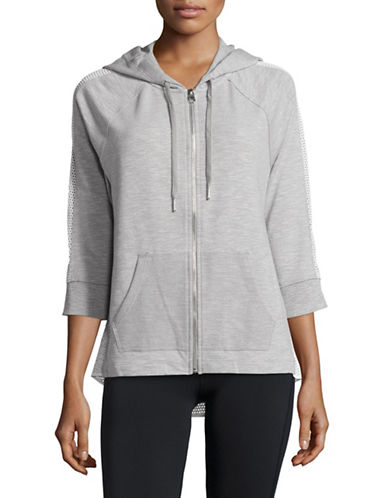 Calvin Klein Performance Mesh-Combo Full-Zip Hoodie-PEARL HEATHER GREY-Medium