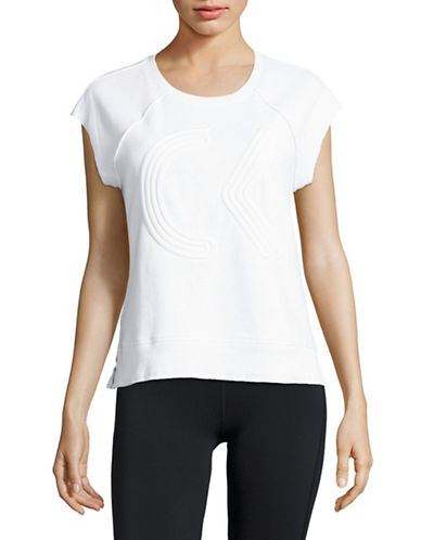 Calvin Klein Performance Quick-Dry Embossed Raw-Edge Top-WHITE-Medium