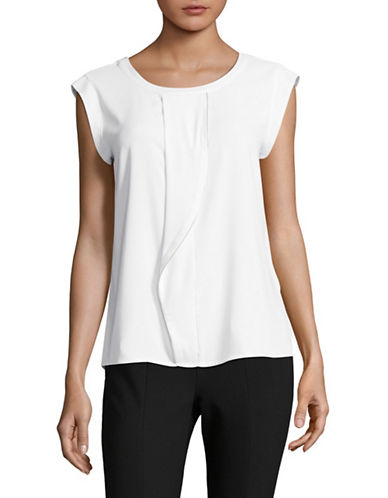Calvin Klein Short Sleeve Drape Blouse-WHITE-Medium