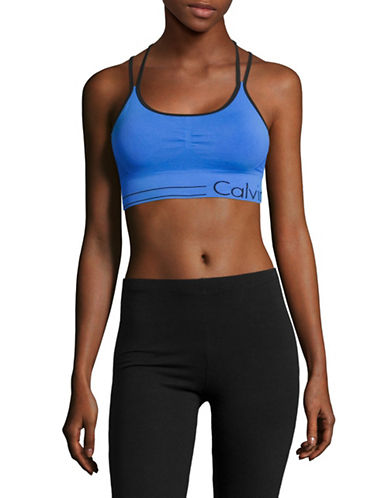 Calvin Klein Performance Logo Double Racer Sports Bra-LAGOON COMBO-X-Large