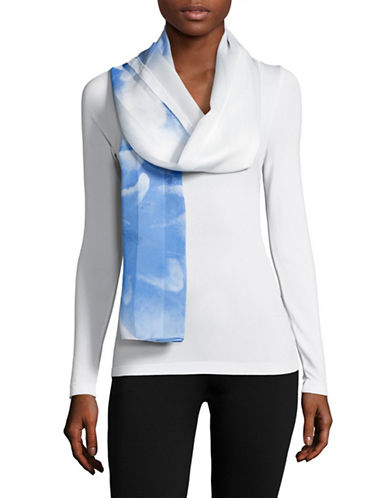 Calvin Klein Shadow Stripe Floral Scarf-SERENE-One Size