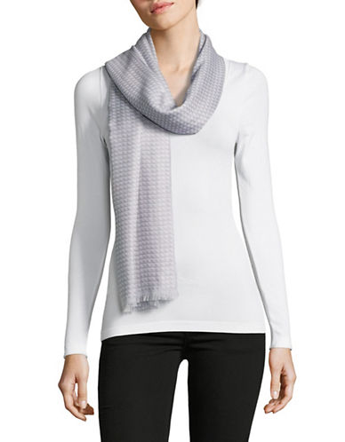 Calvin Klein Yarn-Dyed Triangle Scarf-GREY-One Size