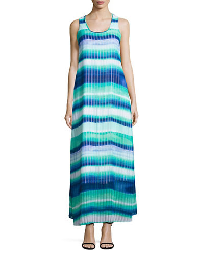 Calvin Klein Sleeveless Stripe Print Maxi Dress-REGATTA-8