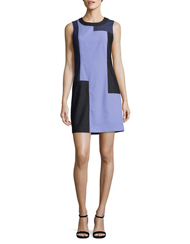 Calvin Klein Denim Patchwork Shift Dress-BLUE-8