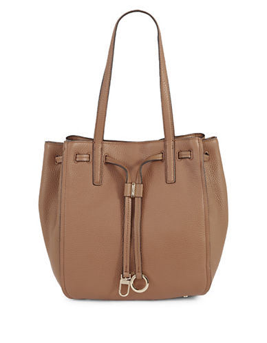 Calvin Klein Drawcord Ring-Tab Pebble Leather Tote-BROWN-One Size