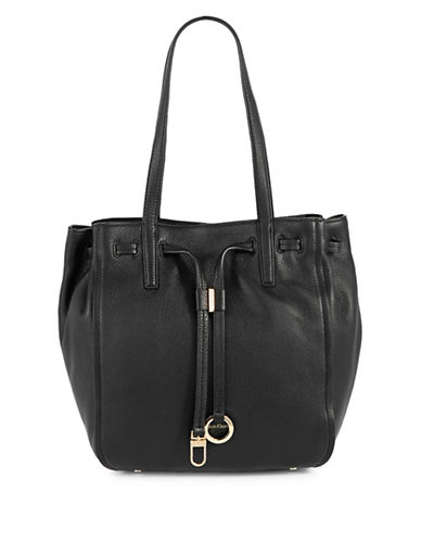 Calvin Klein Drawcord Ring-Tab Pebble Leather Tote-BLACK-One Size