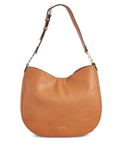 Calvin Klein Erica Pebbled Leather Hobo Bag-LIGHT COGNAC-One Size