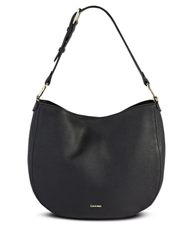 Calvin Klein Erica Pebbled Leather Hobo Bag-BLACK-One Size