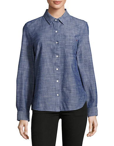 Tommy Hilfiger Chambray Roll-Tab Shirt-BLUE-X-Small