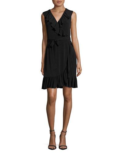 Calvin Klein Ruffled Jersey Wrap-Style Dress-BLACK-8