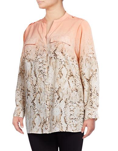 Calvin Klein Plus Printed Roll-Sleeve Shirt-MULTI-0X 89081823_MULTI_0X