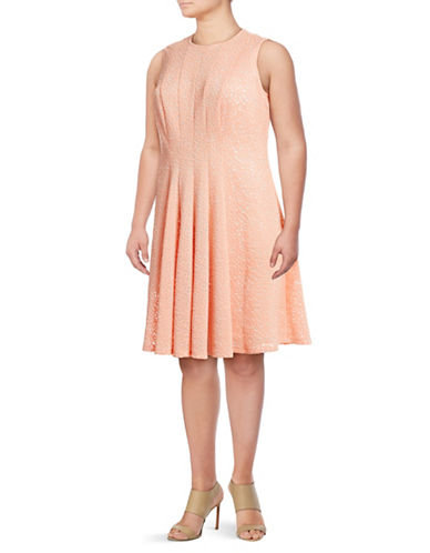 Calvin Klein Plus Abstract Laser-Cut Flare Dress-ORANGE-18W